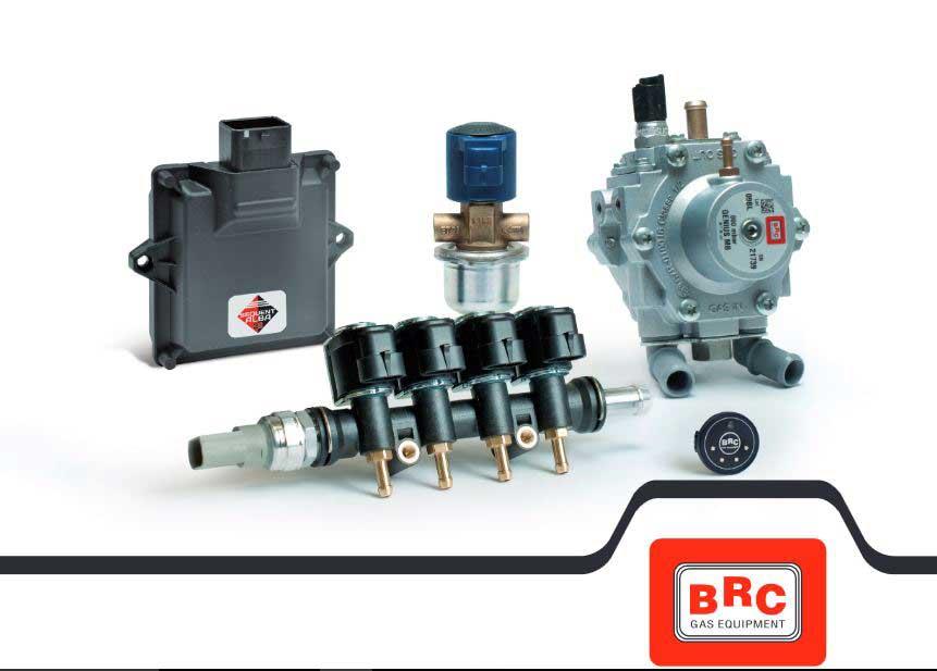 componenti impianto gpl per auto con logo BRC